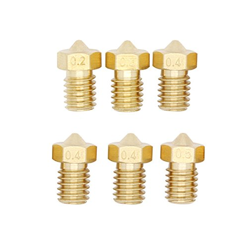 0,5/mm Extruder ABS de 1,75/mm PLA imprimante M6 injecteur de cuivre jaune 3/* 0.4/mm ueetek Injecteur de cuivre jaune de la t/ête dimpression 3d de 6pcs 0,2/mm 0,3/mm
