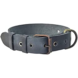 Rustic Thick Leather Dog Collar For Medium Size Dog (10 to 19 Inches) Handmade by Hide & Drink :: Slate Blue