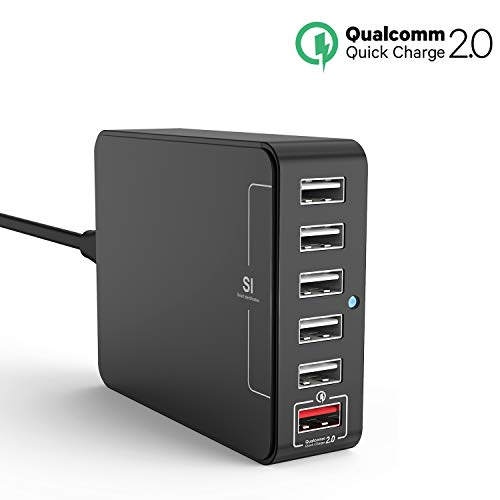 USB Charger, Jelly Comb Desktop Charger : 6-Port USB Charging Station, Charger Hub, Multiple USB Charger, USB Power Adapter for iPhone X,7, iPad, Samsung Galaxy S8 S8 Edge, LG G5, Nexus All Smartphone