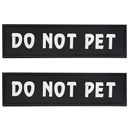 Not Pet Harness - Bolux Dog Vest Patches, 2 PCS Removable Patches Velcro for Dog Harness - Emotional Support/Service Dog/in Training/Therapy Dog/DO NOT PET/Keep Going PU Dog Halter Patches