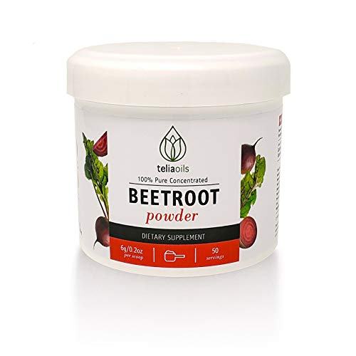 Teliaoils Organic Beetroot Powder   Concentrated Red Beet Root Extract with Vitamins, Minerals & Nitrates   Natural Organic Beets for Endurance, Energy Increase, Healthy Blood Pressure & Circulation