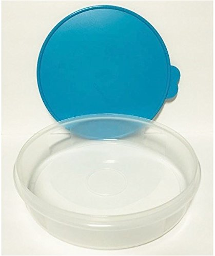 Tupperware 12 inch Round Pie and Baked Goods Carrier Food Storage Container with Airtight Seal in Cool Aqua Blue