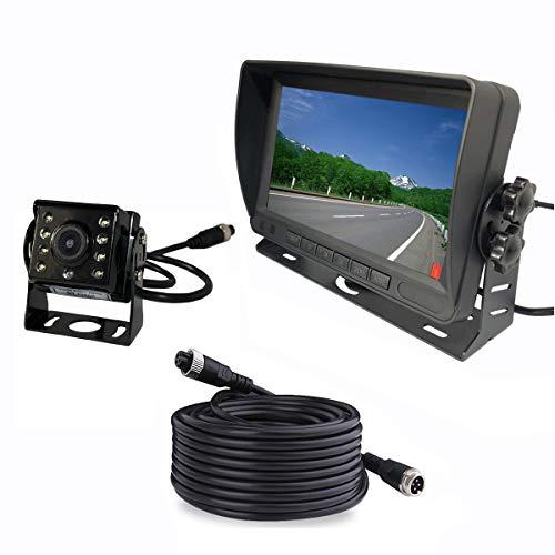 Upgraded Vehicle Backup Rear View Car Truck Camera and Monitor System,IP69 Waterproof Night Vision HD1080P Rear Camera + 7