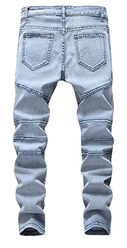 Kihatwin Big Boy Fashion Biker Moto Ripped Distressed Skinny Slim Fit Jeans Jeans Blue 12 by Kihatwin (Image #2)