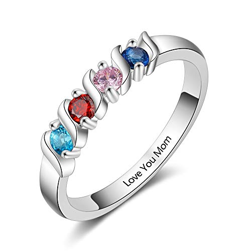Grandma Rings with 4 Simulated Birthstones Personalized Family Jewelry Womens Promise Rings (8)