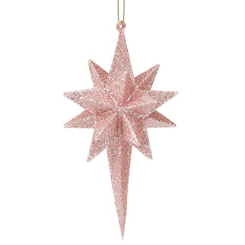 "Northlight 6.25"" Baby Pink Glitter Geometric Star Christmas Ornament"