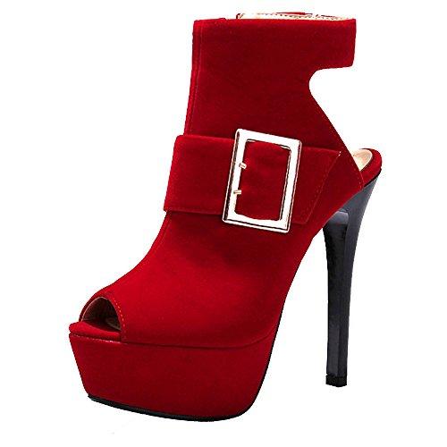 Taoffen Femmes 8 Talons Peep Toe Red Hauts Plateforme Mode Sandales vBqpxWvgO