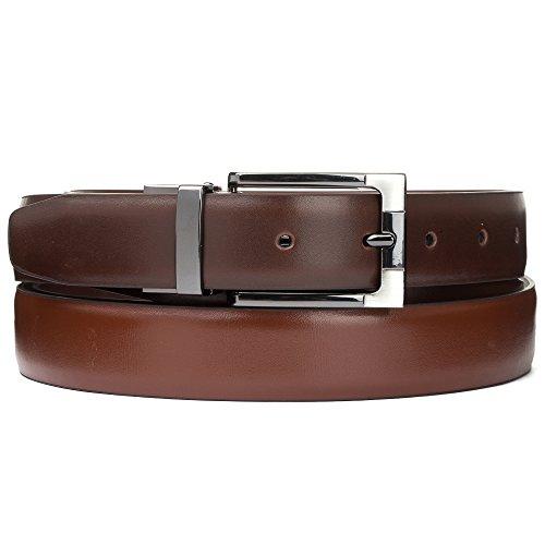 """Tanpie Reversible Belt for Men Dress Belt Leather 1 1/8"""" Wide Rotated Buckle Brown/Tan XL by Tanpie (Image #2)"""