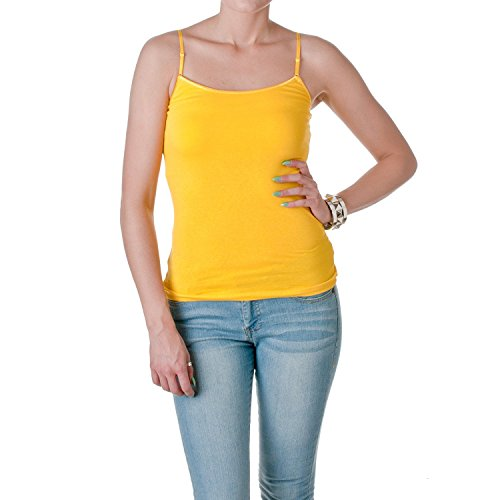 ACTIVE BASIC Womens Shelf Bra Adjustable Spaghetti Strap Tank, Yellow, Medium