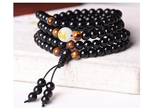 - Black Buddha Beads Bangles & Bracelets Handmade Jewelry Ethnic Glowing in The Dark Bracelet for Women or Men hxx824z290-8mm Goat Elegant