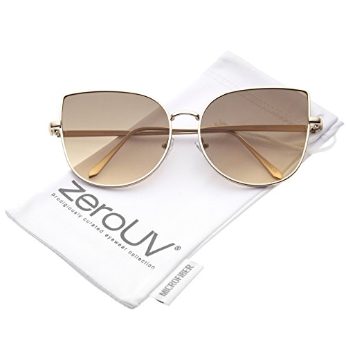 zeroUV - Women's Oversize Slim Metal Frame Gradient Colored Flat Lens Cat Eye Sunglasses 58mm (Matte Gold / Light Brown) (Contact Lenses Sunglasses)