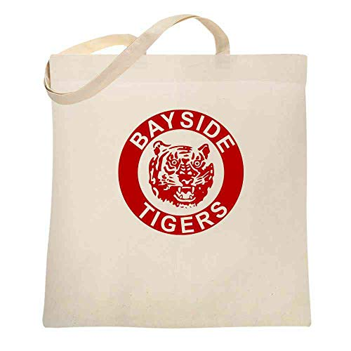 Bayside Tigers 90s Retro Halloween Costume Natural 15x15 inches Large Canvas Tote Bag Women