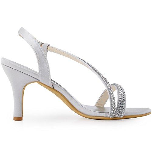 Argent EP11097 de ElegantPark mariee arriere strass bride mariage Chaussures Escarpins Femme vdqUwd1