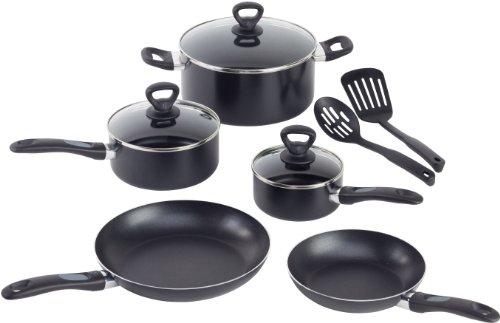 WearEver A801SA Comfort Grip Nonstick Oven Safe Dishwasher Safe PFOA Free Set Cookware, 10-Piece, Black