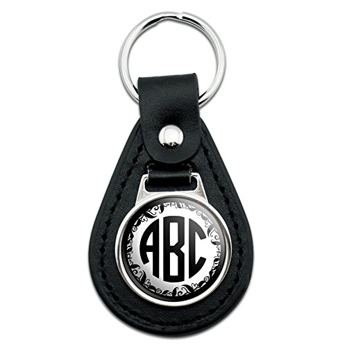 Graphics and More Personalized Custom Monogram Circle font Vine Outline Black Leather - Graphic Leather