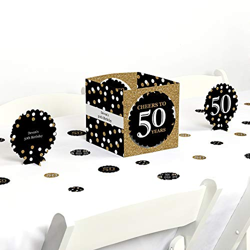 Big Dot of Happiness Adult 50th Birthday - Gold - Birthday Party Centerpiece & Table Decoration Kit for $<!--$13.99-->