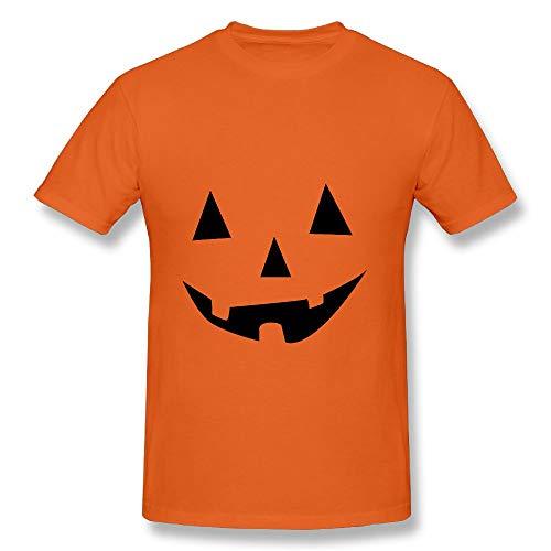 Men's Halloween Pumpkin Face Pattern Cotton T Shirt, Casual Slim Lightweight Short Sleeve Orange 5XL ()