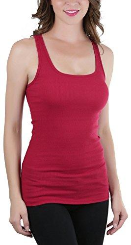 Dark Red Ladies Tank Top (ToBeInStyle Women's Ribbed Fabric Racerback Tank Top - Dark Red - Large)