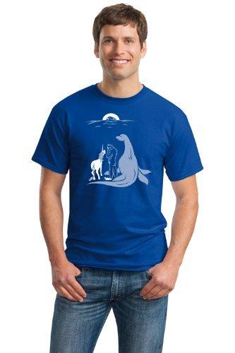 Noah Forgot Bigfoot, Unicorn, & Loch Ness Monster | Funny Unisex Humor T-shirt-Blue-Large