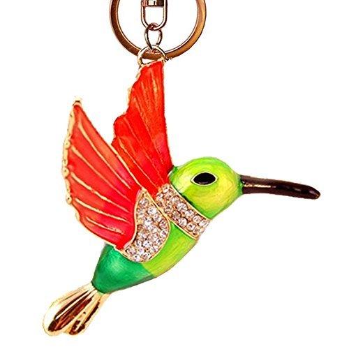 Hummingbird Keychain, Hummingbird Charm, Bird Animal Feature Keychain Sparkling Keyring Rhinestones Purse Pendant Handbag Charm (Green)