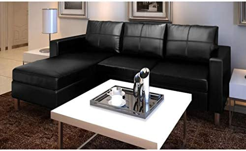 Sectional Sofa 3-Seater Artificial Leather Black