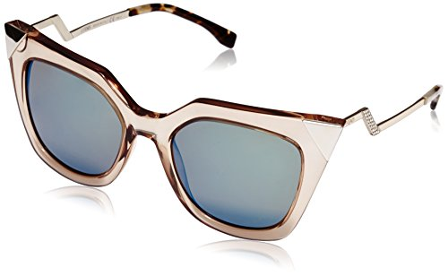 (Fendi Women's Iridia Corner Accent Sunglasses, Trans Dove Grey/Khaki Blue, One Size)