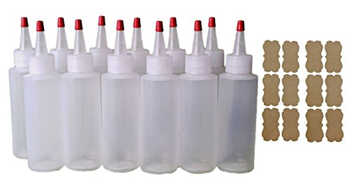 Ink Gallon Bottle - SanDaveVA Brand (12) 4 oz Versatile Plastic Squeeze Bottles w/ Yorker Caps use for Cake Decorating, Condiments, Paint, Crafts, Tattoo Ink, Dye and kraft labels