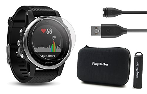 Garmin fenix 5S (Silver with Black Band) Power Bundle | Includes HD Glass Screen Protector, PlayBetter Hard Case & PlayBetter Portable Lipstick Charger | Multi-Sport GPS Watch by PlayBetter
