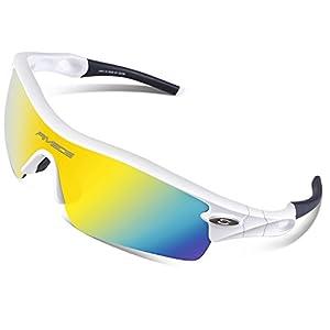 RIVBOS TR 90 Frame RB0805 Polarized Sports Sunglasses Sun Glasses with 5 Set Interchangeable Lenses for Men Women Cycling Baseball(UpGrade TR White)
