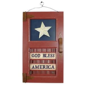 Wilco Imports  Decorative Wood Sign Americana Wall Decor God Bless America