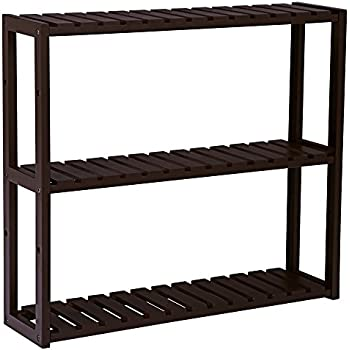 Amazon.com: SONGMICS Bamboo Wood 3-Tier Utility Storage Shelf Rack ...