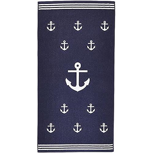 Superieur Arus Jacquard Woven Turkish Terry Cotton Beach Towel, Anchor, Marine, 28x55