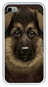 German Shepherd Puppy TPU Case Cover for iPhone 4 and iPhone 4s White