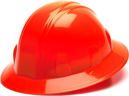 Pyramex Safety SL Series Full Brim Hard Hat, 4-Point Ratchet Suspension, Hi Vis Orange
