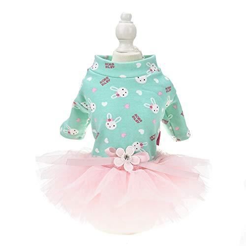 MUYAOPET Bunny Dog Costume Tutu Dress for Cat Pet Dog Party Dress Skirt Fleece Small Dog Shirt Clothes (XS, Green) -