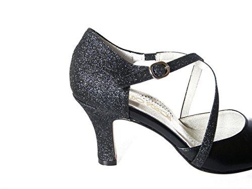 Scarpa Nero Cm In E Medio Tacco Ballo cerimonia 820 Pelle Da Nero Glitter 7 Donna 7xrU87