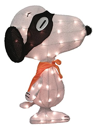 Charlie Brown Great Pumpkin Costumes (ProductWorks 24-Inch Pre-Lit Spooky Masked Snoopy Yard Decoration)