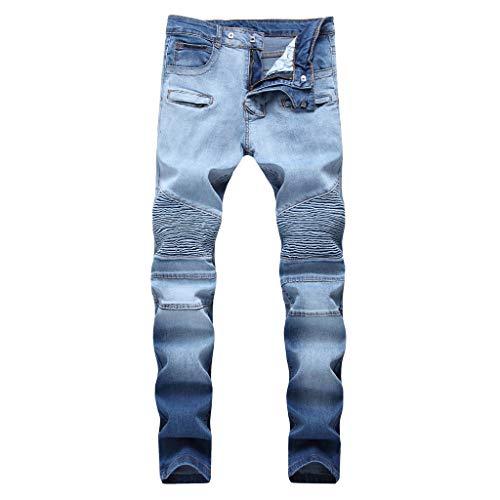 Mwzzpenpenpen Men's Stretch Pleated Hole Casual Slim Fit Sweatpants Pencil Jeans Trousers Classic Tapered Leg Pants