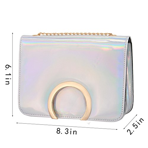 Women PU Cross Bag with Chain Body Boutique Leather Fashion Silver2 Mini Bag Novias Silver Party Shoulder 57tfAqYw7z