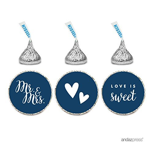 Andaz Press Chocolate Drop Labels Trio, Fits Hershey's Kisses, Wedding Mr. & Mrs., Navy Blue, 216-Pack, For Bridal Shower, Engagement Party Favors, Gifts, Stationery, Envelopes, Decor, Decorations