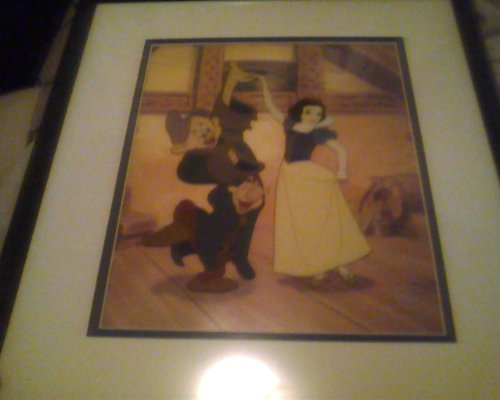 "WDCC Snow White and the Seven Dwarves ""Dancing Partners"" Sericel Cel Framed W/C.O.A. Rare"