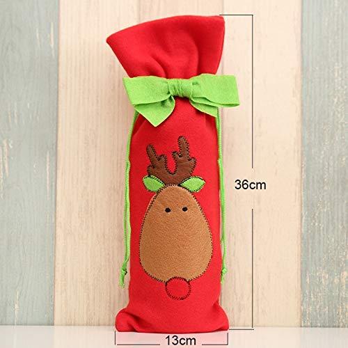 (Christmas Wine Bags, 1PC Christmas Wine Bottle Decor Set Santa Claus Snowman Deer Bottle Cover Clothes Kitchen Decoration for New Year Xmas Dinner Party - Rosette elk)