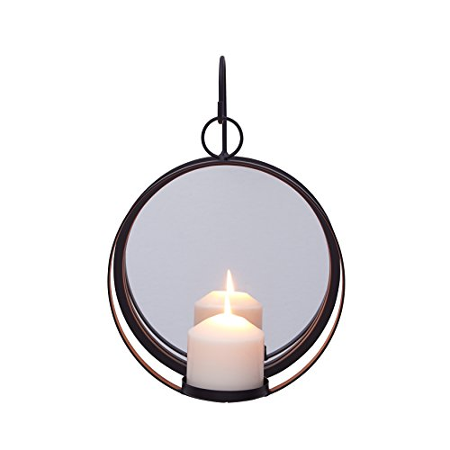 - Danya B. Round Wrought Iron Pillar Candle Sconce with Mirror – A Decorative Rustic Metal Hanging Wall Candleholder