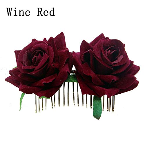 2018 Girls Wedding Rose Handmade Bridal Hair Accessories Jewelry Hair Clip Comb (Color - Wine Red)