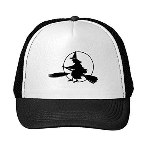 Trucker Hat Full Moon Witch On A Broom Halloween Polyester Baseball Mesh Cap Snaps Black/Black One Size -
