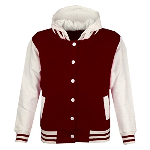 Cute Varsity Jackets For Girls - Kids Girls Boys Baseball Plain Hooded