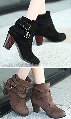 Donna Moda Stivali Stivaletti Casual Invernali Fibbia Boots Tacco Alto Scarpe Sexy Moda Elegante Nero Minetom q4p5SxBwx