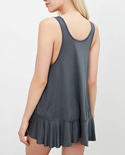 Frauen Tops T-Shirts Tank Tops Ärmellos Rundkragen Irregular Trägerlos Uni-Farben Loose Rüschen