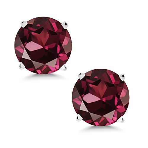 Gem Stone King 14K White Gold Red Rhodolite Garnet Stud Earrings 2.00 Ct Round 6MM