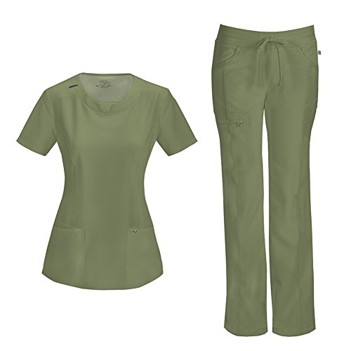 Infinity by Cherokee Womens 2624A Round Neck Top with badge loop & 1123A Straight Leg Low Rise Comfort Pant Medical Uniform Scrub Set Top & Pants (Olive - Large)